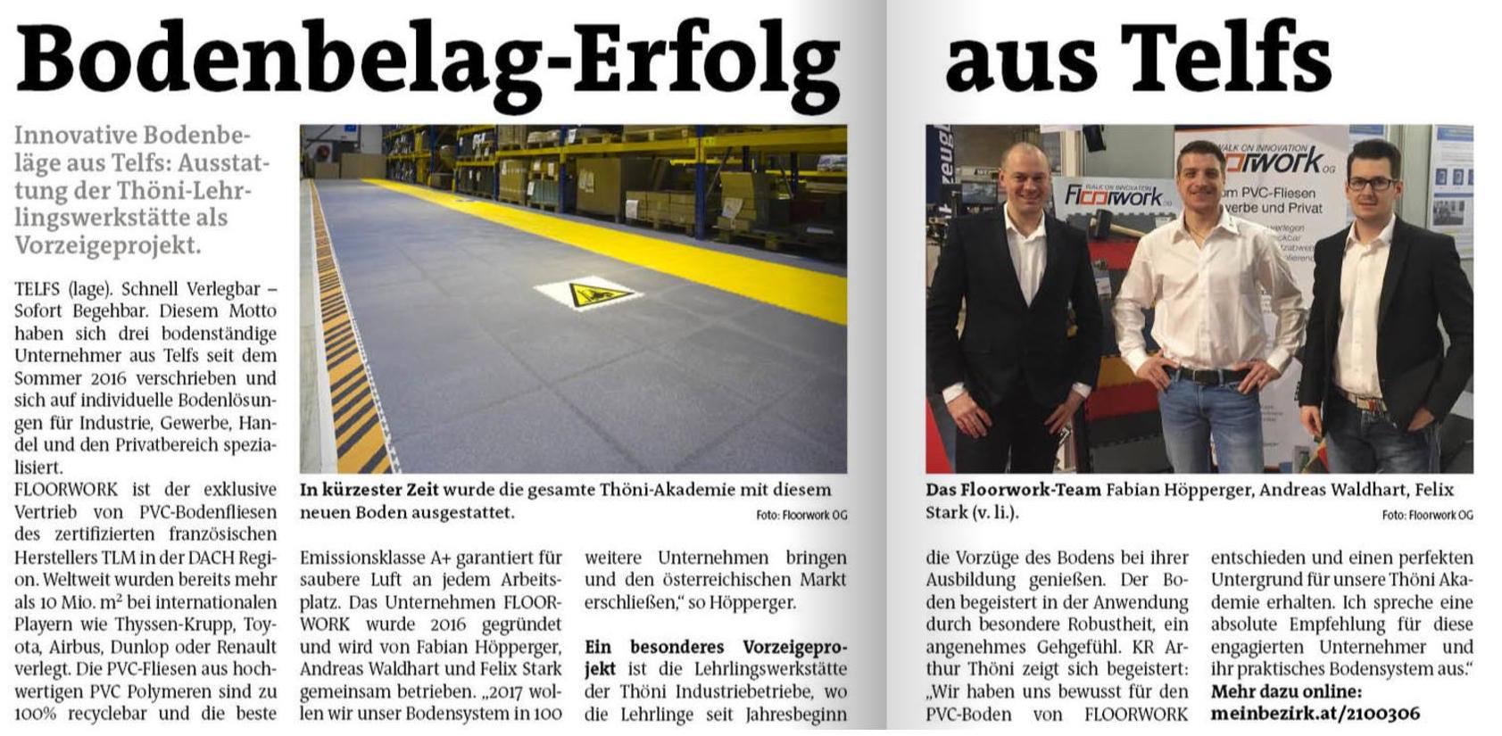 Hier ist ein Zeitungsartikel über Floorwork und seinen Bodenbelägen